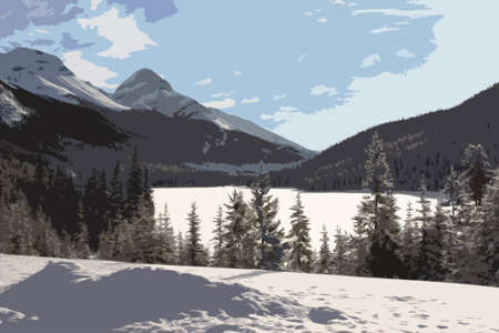 rockies: a frozen lake in front of a mountain in the rockies under blue sky
