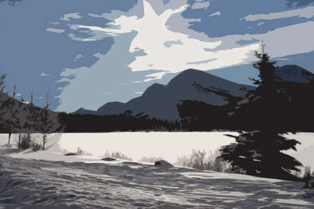 wintery snowy: a frozen lake in front of a mountain in the rockies under a blue sky Illustration