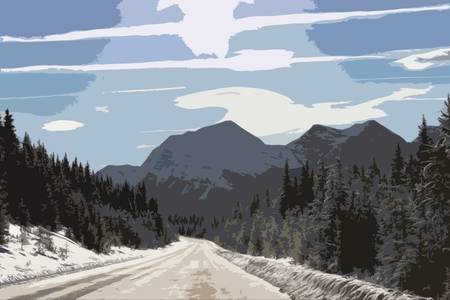 wintery snowy: an icy road in front of a mountain under a blue sky