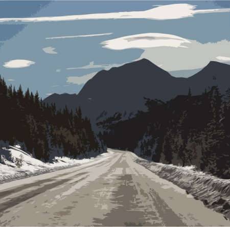 rocky: Rocky mountain scene under a cloudy blue sky