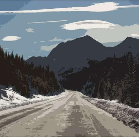 Rocky mountain scene under a cloudy blue sky
