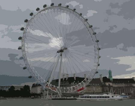 london eye: the london eye under grey clouds
