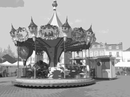 old fashioned: An old fashioned fair merry go round Illustration