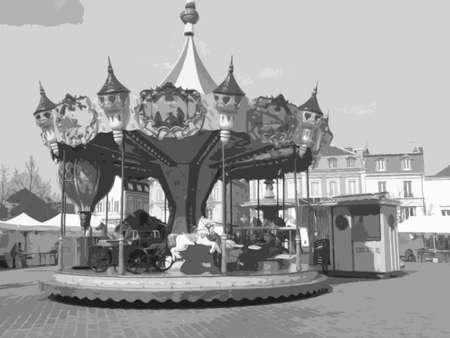 fairground: An old fashioned fair merry go round Illustration