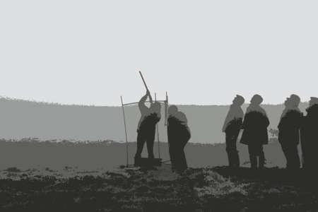 クレー射撃、霧の日に  イラスト・ベクター素材
