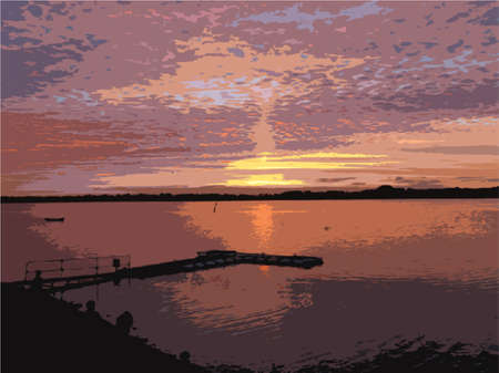 over: beautiful sunset over draycote water lake Illustration