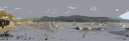 wales: a view up the mawddach estuary in wales from barmouth