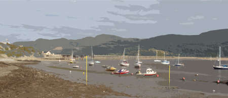 fishing village: a view up the mawddach estuary in wales from barmouth