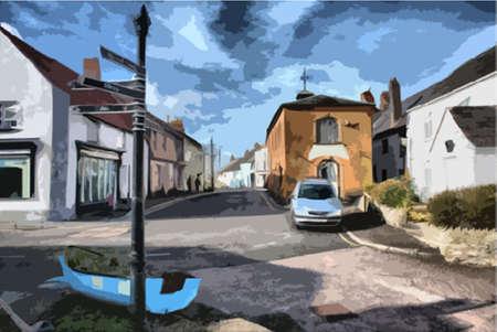 somerset: watchet street scene somerset Illustration