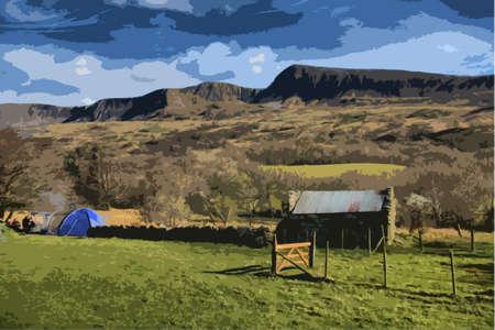moody sky: cadair idris mountain range in snowdonia Illustration