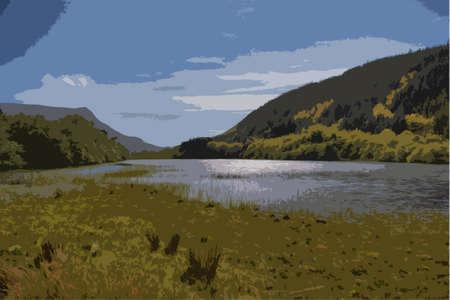 moody: cadair idris mountain range in snowdonia Illustration