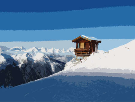 piste: A mountain hut on the side of a snow covered alpine piste