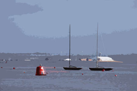 moorings: boats tied to moorings at cowes on the solent Illustration