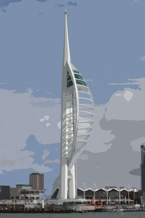 spinnaker tower looking over portsmouth harbour