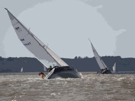 windy: yachts sailing on the sea in windy conditions