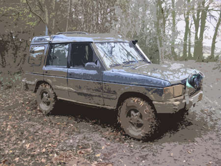 very dirty: a very dirty muddy offroad car