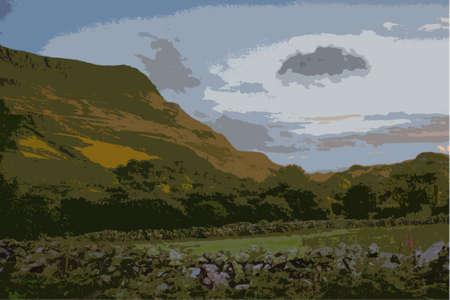 mountain range: cadair idris mountain range in snowdonia Illustration