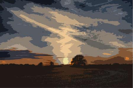 rural scene: beautiful sunset over rural countryside scene