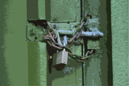 securing: padlock and chain securing a green metal door