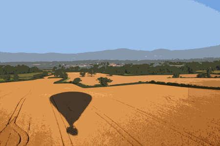 Shadow of a hot air balloon flying over rural farmland Vector