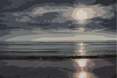 coastline: Beautiful sunset over a sandy beach Illustration