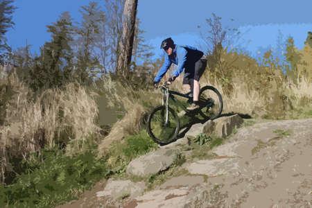 mtb: mountain biker in blue riding down a hill