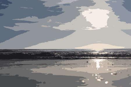 quiet: Beautiful sunset over a quiet calm ocean