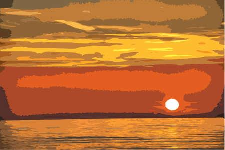 Beautiful sunset over a quiet calm ocean
