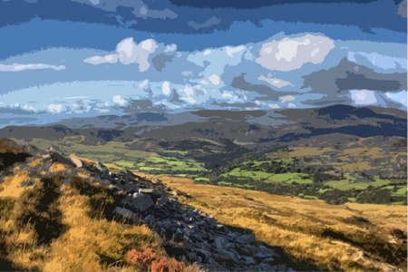 national parks: cadair idris mountain range in snowdonia Illustration