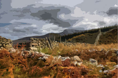 moody: cadair idris mountain range in snowdonia Illustration