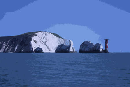 tall ship: The red and white striped lighthouse at the needles in the solent