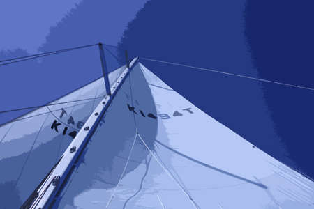 below: yacht sails and rigging viewed from the deck below