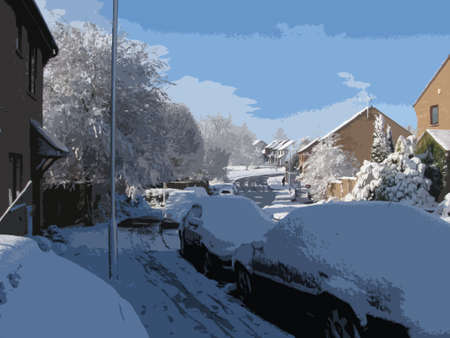 culdesac: A village street covered in snow