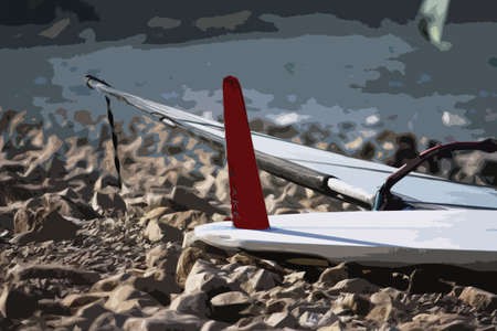 upturned: windsurfing board with fin upturned on a beach Illustration