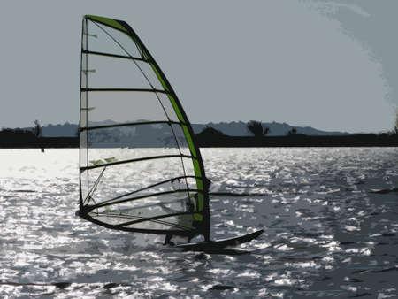 windsurf: Windsurf en un lago azul