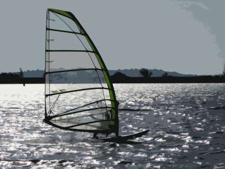 watersports: Windsurfing on a blue lake Illustration