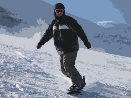 ice slide: snowboarder on a ski slope under a blue sky