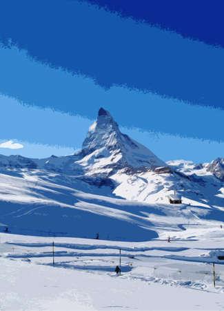 matterhorn: The majestic alpine Matterhorn mountain towering above Zermatt, Switzerland