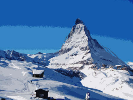 imposing: Il maestoso Cervino alpino imponente montagna sopra Zermatt, in Svizzera