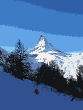 imposing: The majestic alpine Matterhorn mountain towering above Zermatt, Switzerland