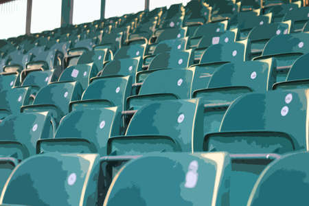 empty green grandstand seating in a regular symmetrical pattern