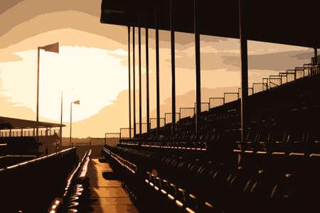 grandstand: Symmetrical regular pattern grandstand seating arrangement at sunset Illustration