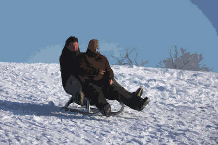 toboggan: a couple enjoying sledging in the snow