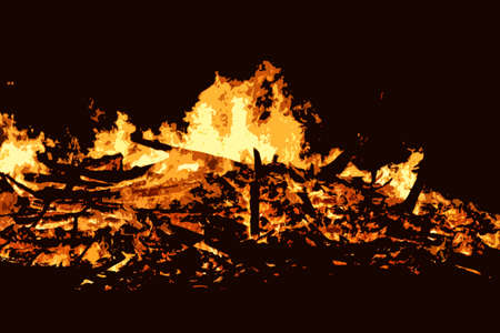 lick: Fire burning brightly at night