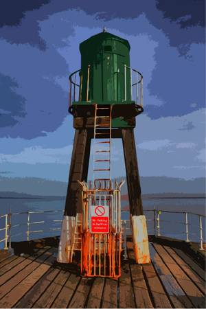Whitby harbour west cliff pier green beacon wooden structure for guiding boats Çizim