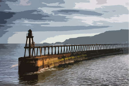 quay: whitby east cliff pier warning navigation beacon