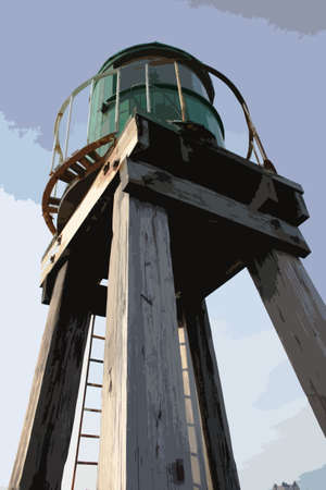 pier: Whitby harbour west cliff pier green beacon wooden structure for guiding boats Illustration