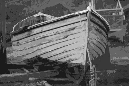 skiff: An old clinker built wooden working fishing boat on a trailer Illustration
