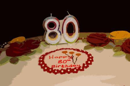 80th: iced white 80th birthday cake