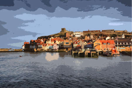 coastline: Whitby East Cliff buildings from West Cliff side of the esk estuary